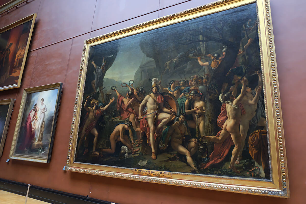 Leonidas at Thermopylae - Jacques-Louis David is masterpiece of art in the in Louvre, Paris