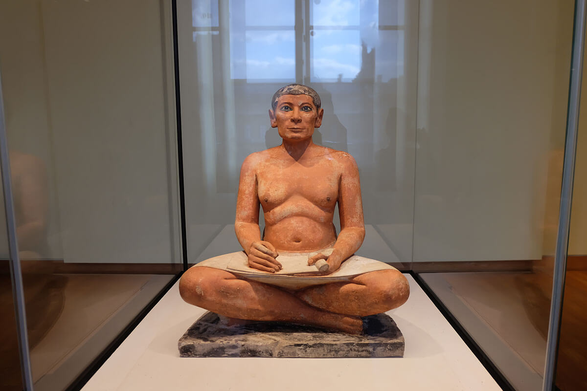 Sculpture of a seated man, Egypt section Scribe Kai,Louvre